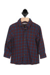 front has button up closure with left breast pocket, collar, long sleeves and red, blue & grey flannel material.