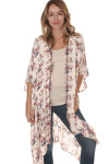 front of floral print beaded collar kimono print features pink background with purple yellow and blue flowers beading along front collar hemline
