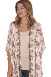 side of floral print beaded collar kimono print features pink background with purple yellow and blue flowers beading along front collar hemline
