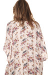 back of floral print beaded collar kimono print features pink background with purple yellow and blue flowers