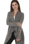 front of Stones Long Sleeve Shawl in washed grey color floral beading at wrists