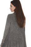 back of Stones Long Sleeve Shawl in washed grey color