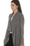 side of Stones Long Sleeve Shawl in washed grey color larger collar