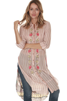 front of Sweet Rose Button Up Tunic in pink & white stripes pink flowers embroidered up front high slits on sides