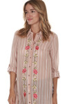 side of Sweet Rose Button Up Tunic in pink & white stripes pink flowers embroidered up front high slits on sides