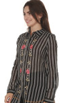 side of English Rose Button Up Blouse  main blouse print is black and white vertical striping with pink rose patches vertically up front