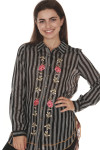 front of English Rose Button Up Blouse  main blouse print is black and white vertical striping with pink rose patches vertically up front