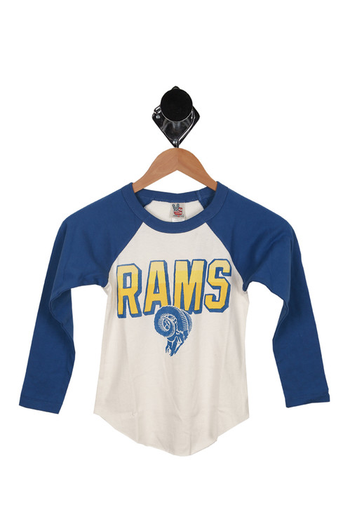 front of tee features blue long sleeves with white body and blue & yellow RAMS logo