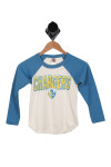 front features blue long sleeves with white body and yellow and blue CHARGERS logo at front.