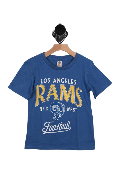 front of tee has Los Angeles Rams NFC WEST Football graphic in yellow and white and shirt is in blue. It has short sleeves