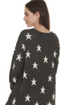 back of Stars All Over Distressed L/S Sweater grey background with white stars oversized fit purposed distressing & holes all over