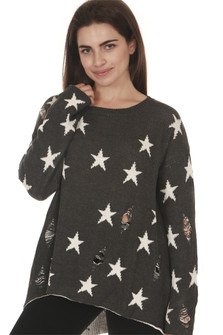 front of Stars All Over Distressed L/S Sweater grey background with white stars scoop neckline with oversized fit purposed distressing & holes all over