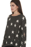 side of Stars All Over Distressed L/S Sweater grey background with white stars scoop neckline with oversized fit purposed distressing & holes all over
