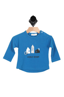 "front of long sleeve shirt has graphic of 3 houses with ""Locally Grown"" written below with snap closure at top left shoulder."