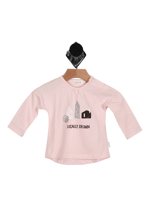 "front of shirt shows graphic of homes with ""Locally Grown"" written below, long sleeves and snap closure at top left shoulder."