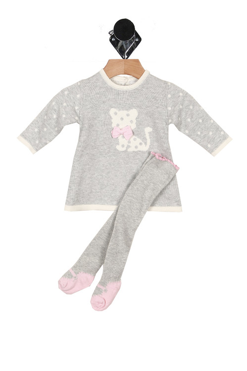 grey dress with white polk-a-dot arms. White cat at front with grey polk-a-dots and pink bow. white trim hemlines. Tights are grey with pink ballet footies.