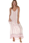 front full body shot of Striped Spaghetti Strap Maxi dress print features ivory background with vertical black and red leaf stripes all over slight v-neck line