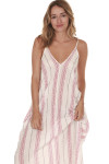 front of Striped Spaghetti Strap Maxi dress print features ivory background with vertical black and red leaf stripes all over slight v-neckline