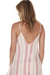 back of Striped Spaghetti Strap Maxi dress print features ivory background with vertical black and red leaf stripes all over slight v-back with adjustable straps