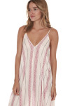 side of Striped Spaghetti Strap Maxi dress print features ivory background with vertical black and red leaf stripes all over slight v-neckline
