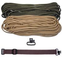 "DIY 43"" 550 Paracord Strap - Olive Drab & Tan w/ Brown Webbing"