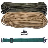 "DIY 43"" 550 Paracord Strap - Olive Drab & Tan w/ Green Webbing"