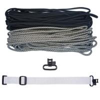 "DIY 43"" 550 Paracord Strap - Black & ACU Digital Camo w/ gray Webbing"