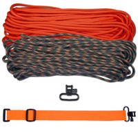 """DIY 43"""" 550 Paracord Strap - Neon Orange & Woodland Camo w/ Orange Webbing"""