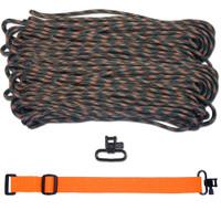 """DIY 43"""" 550 Paracord Strap - Woodland Camo w/ Orange Webbing"""