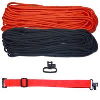 """DIY 43"""" 550 Paracord Strap - Black & Neon Orange w/ Red Webbing"""