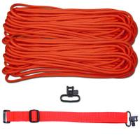 """DIY 43"""" 550 Paracord Strap - Neon Orange w/ Red Webbing"""