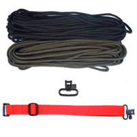 "DIY 43"" 550 Paracord Strap - Black & Olive Drab w/ Red Webbing"
