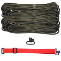"DIY 43"" 550 Paracord Strap - Olive Drab w/ Red Webbing"
