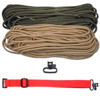 "DIY 43"" 550 Paracord Strap - Olive Drab & Tan w/ Red Webbing"