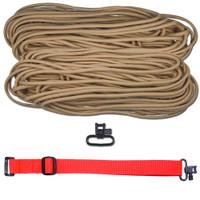 "DIY 43"" 550 Paracord Strap - Tan w/ Red Webbing"