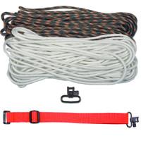 "DIY 43"" 550 Paracord Strap - White & Woodland Camo w/ Red Webbing"