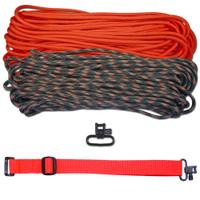 """DIY 43"""" 550 Paracord Strap - Neon Orange & Woodland Camo w/ Red Webbing"""