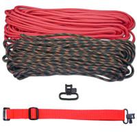 "DIY 43"" 550 Paracord Strap - Pink & Woodland Camo w/ Red Webbing"
