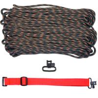 "DIY 43"" 550 Paracord Strap - Woodland Camo w/ Red Webbing"