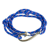 Paracord with Anchor Hook Clasp Wrap Bracelet - Royal Blue