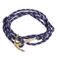 Paracord Wrap Bracelet with Gold Anchor Clasp - Navy Blue