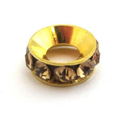 Copper Brass Spacer with Rhinestone