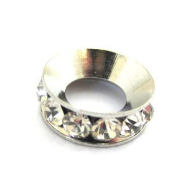 Silver Brass Spacer with Rhinestone