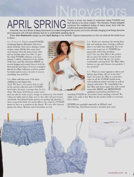Vow Bride Magazine spotlight on Foxers