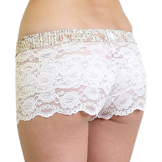 Blush lace boxers with floral waistband