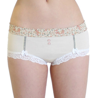 Ivory Boyshort with Floral waistband