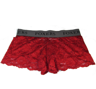 Red Lace Boxers with FOXERS logo band
