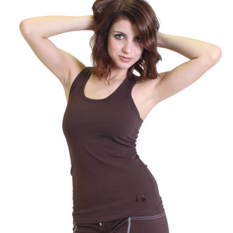 Chocolate Racer Back Tank Top with Shelf Bra