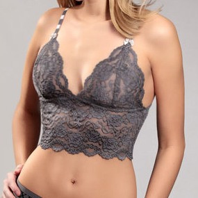 Charcoal Gray Lace Top (Silver Bow)