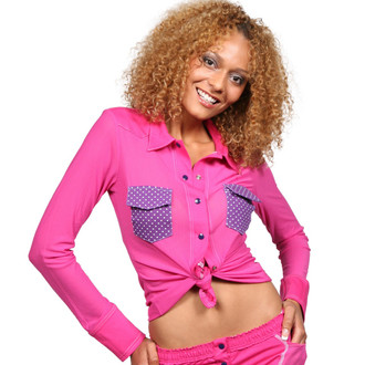 Fuchsia / Grape Dot Sheer Western Lounge Top
